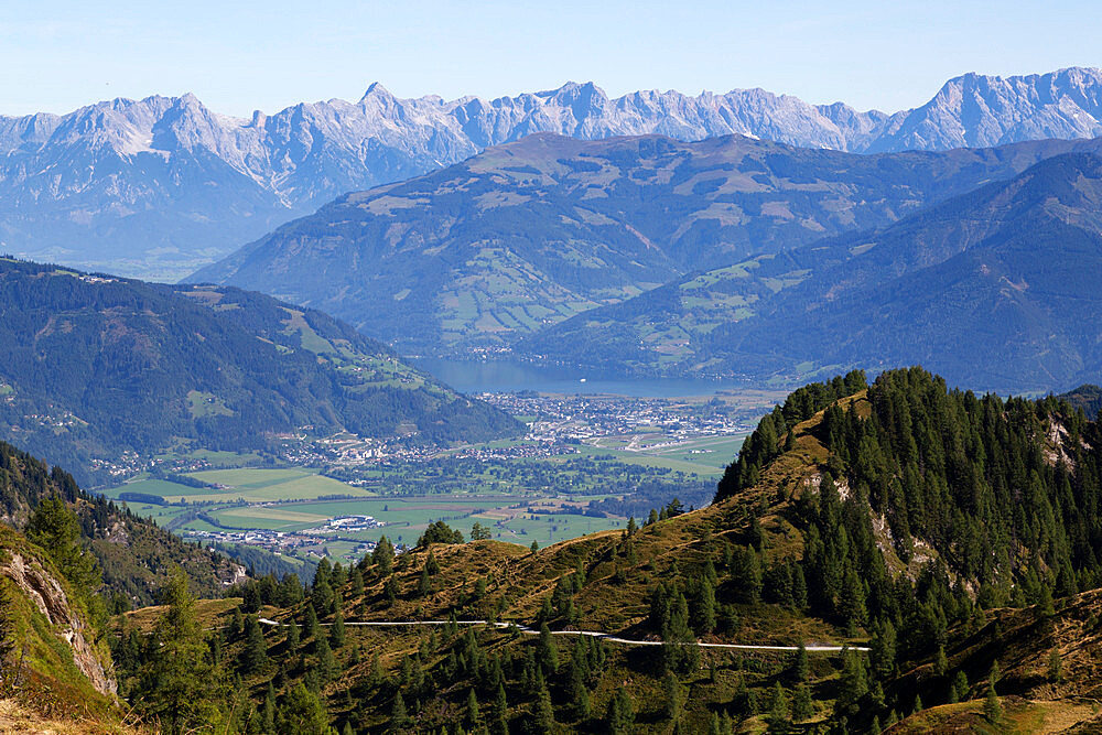 View from the Kitzsteinhorn mountain, in the Austrian Alps, towards Zell am See, in Salzburgerland, Austria, Europe - 826-738