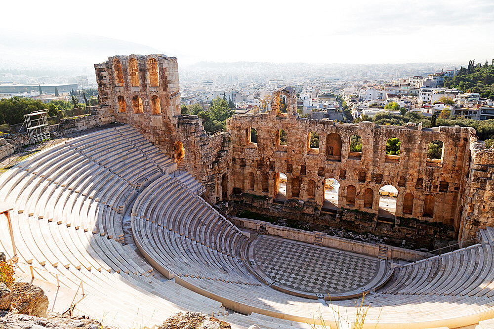 The Odeon of Herodes Atticus, a 2nd century theatre by the foot of the Acropolis in Athens, Greece