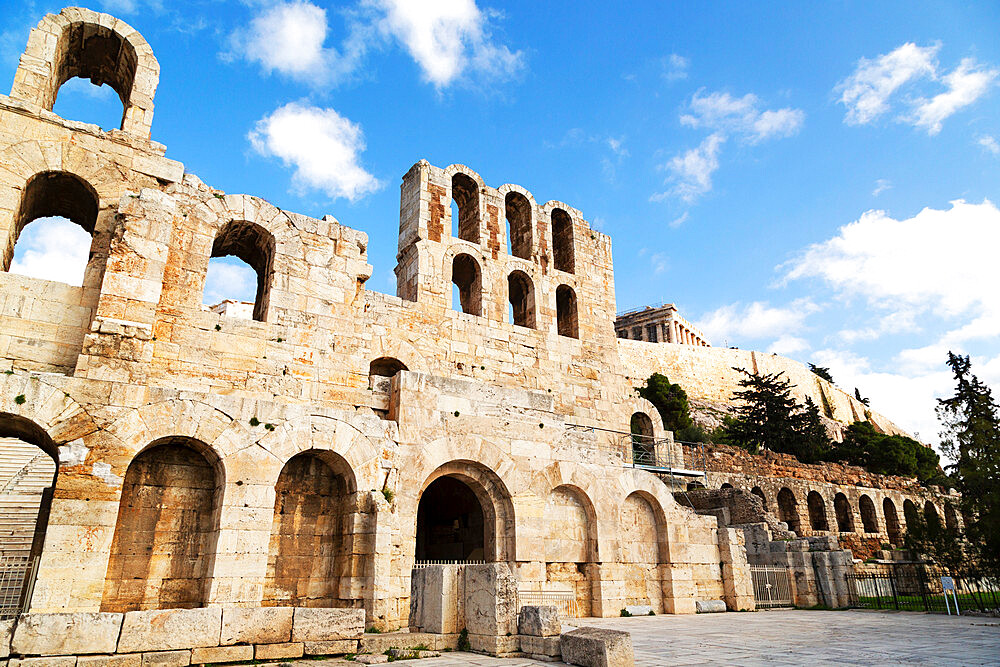 Facade of the Odeon of Herodes Atticus, a 2nd century theatre by the foot of the Acropolis in Athens, Greece