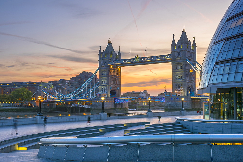 Tower Bridge over River Thames and City Hall, London, England, United Kingdom, Europe - 828-1119