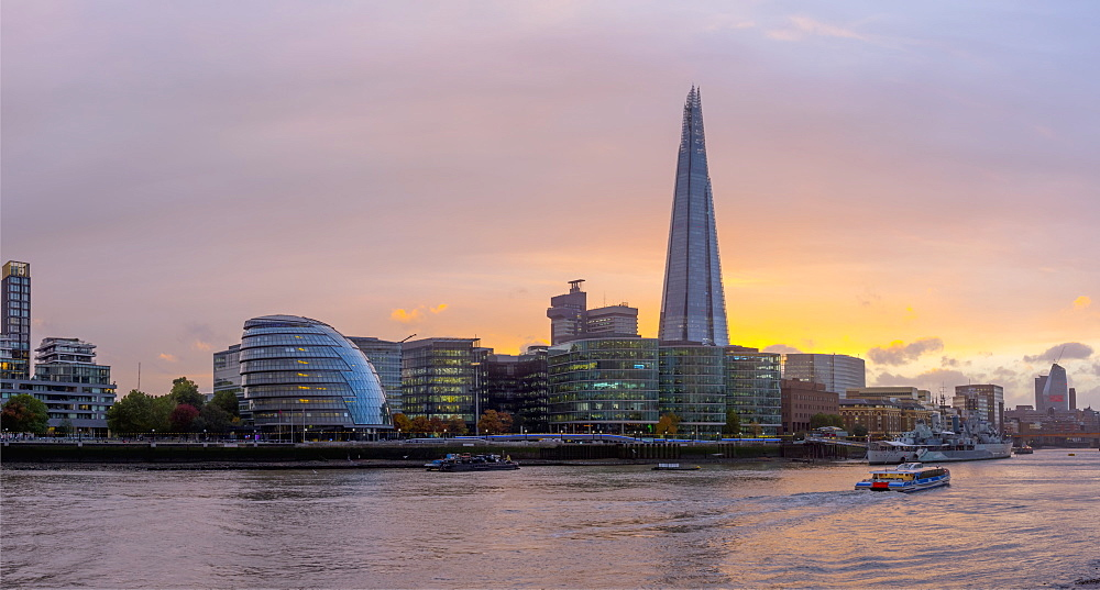 The Shard and City Hall by River Thames, Southwark, London, England, United Kingdom, Europe - 828-1121
