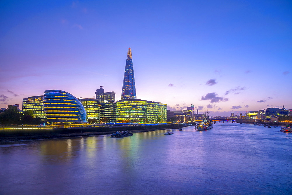 The Shard and City Hall by River Thames, Southwark, London, England, United Kingdom, Europe - 828-1124