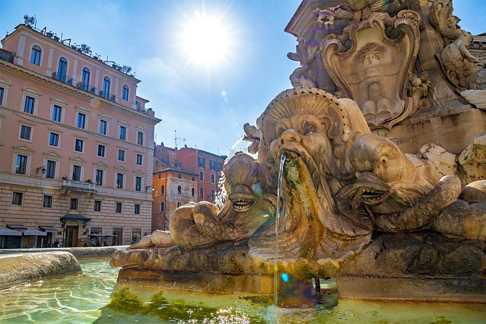 Piazza della Rotunda, Fontana del Pantheon, Pigna, Rome, Lazio, Italy, Europe
