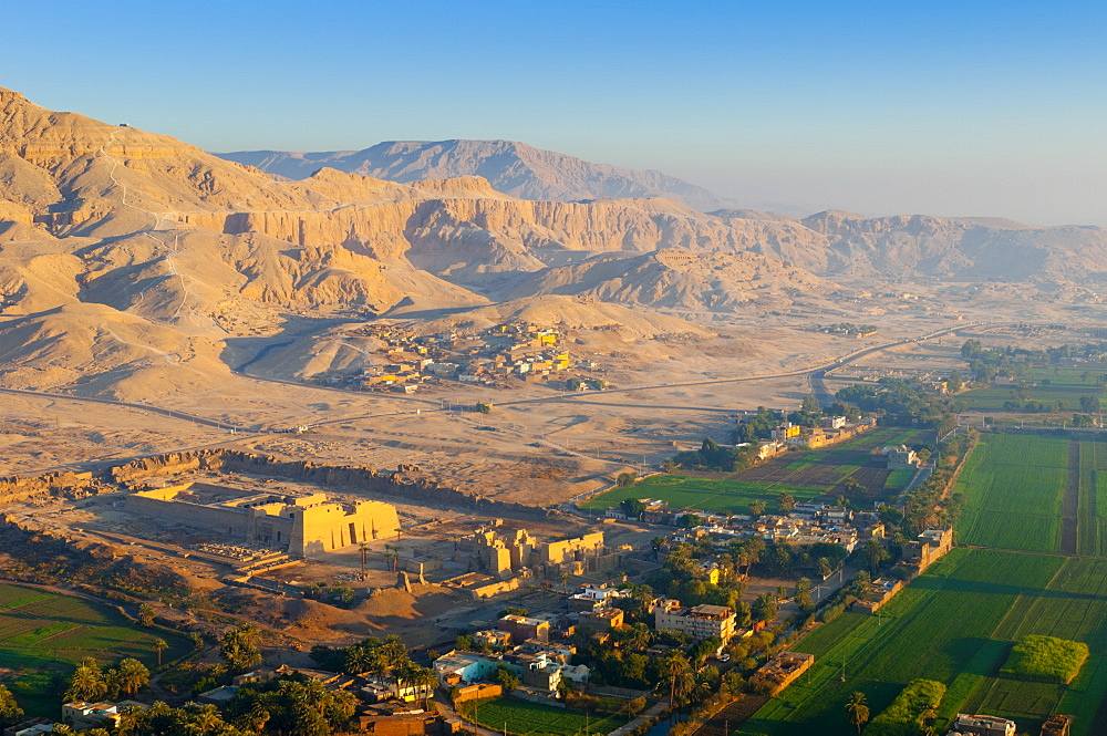 Ballooning over countryside near the Valley of the Kings, Thebes, Upper Egypt, Egypt, North Africa, Africa
