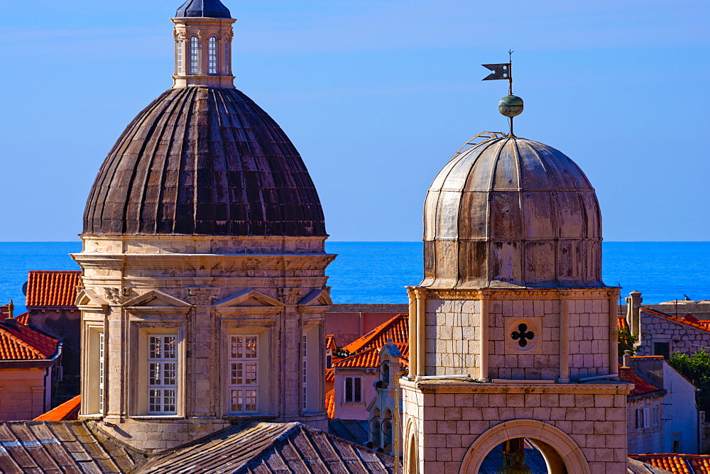 Cathedral of the Assumption of the Virgin Mary on left, Clock Tower right, Old Town (Stari Grad), UNESCO World Heritage Site, Dubrovnik, Dalmatia, Croatia, Europe