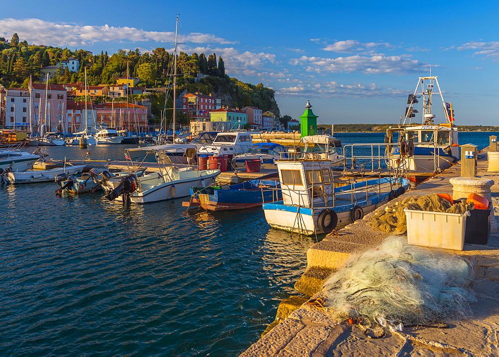 Fishing nets and fishing boats, Old Town Harbour, Piran, Primorska, Slovenian Istria, Slovenia, Europe