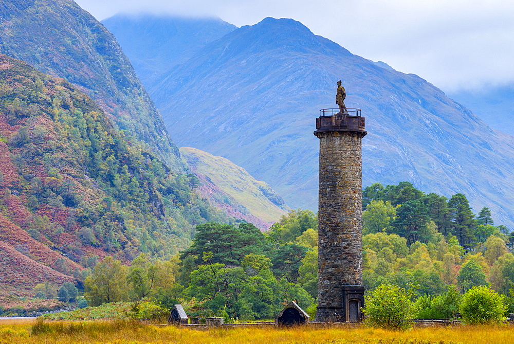 Monument to 1745 landing of Bonnie Prince Charlie at start of Jacobite Uprising, Glenfinnan, Loch Shiel, Highlands, Scotland, United Kingdom, Europe - 828-847