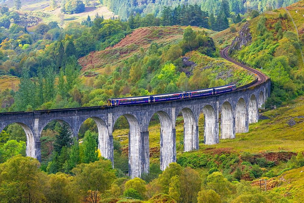 Train on the Glenfinnan Railway Viaduct, part of the West Highland Line, Glenfinnan, Loch Shiel, Highlands, Scotland, United Kingdom, Europe