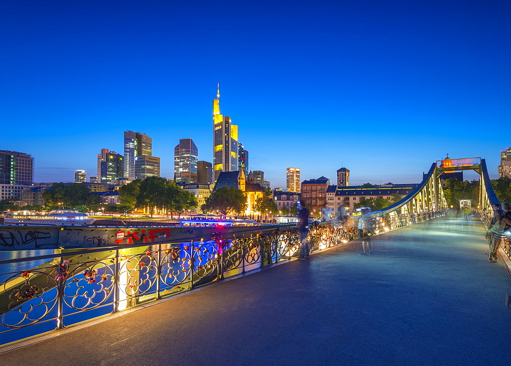 City skyline across River Main, Frankfurt am Main, Hesse, Germany, Europe