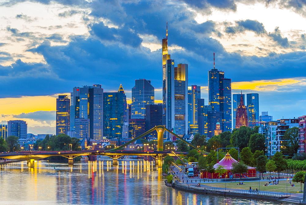 City skyline and River Main, Frankfurt am Main, Hesse, Germany, Europe - 828-869