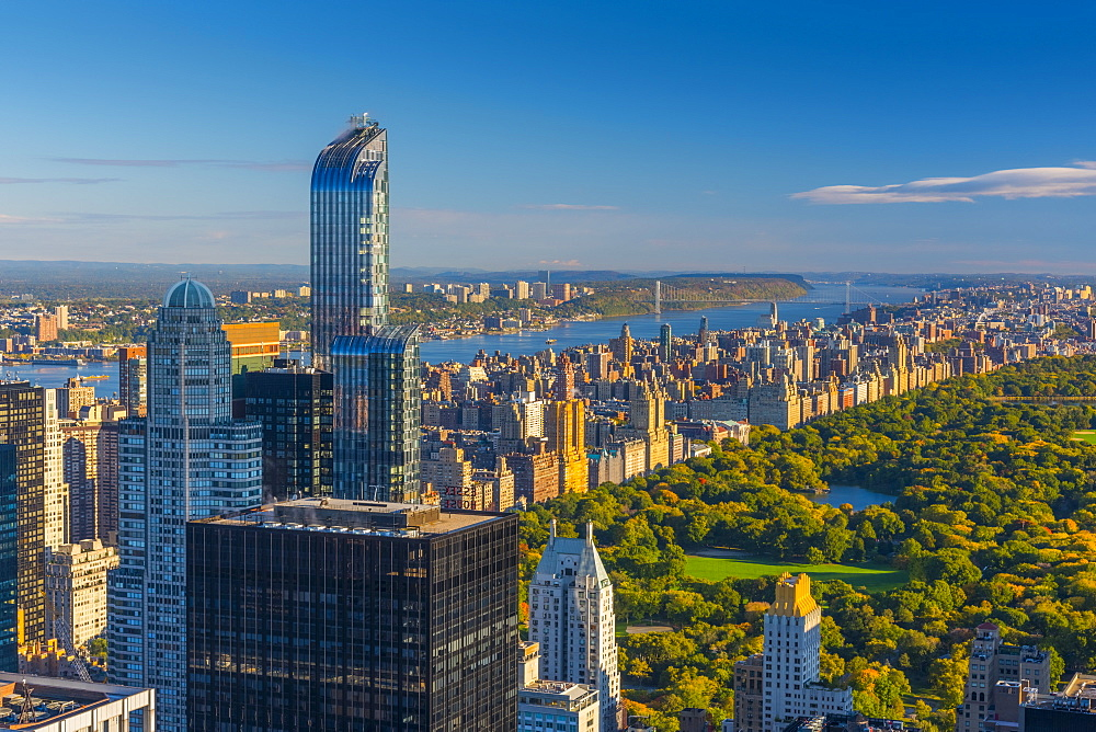Central Park, One57 Building on left, Midtown, Mahattan, New York, United States of America, North America