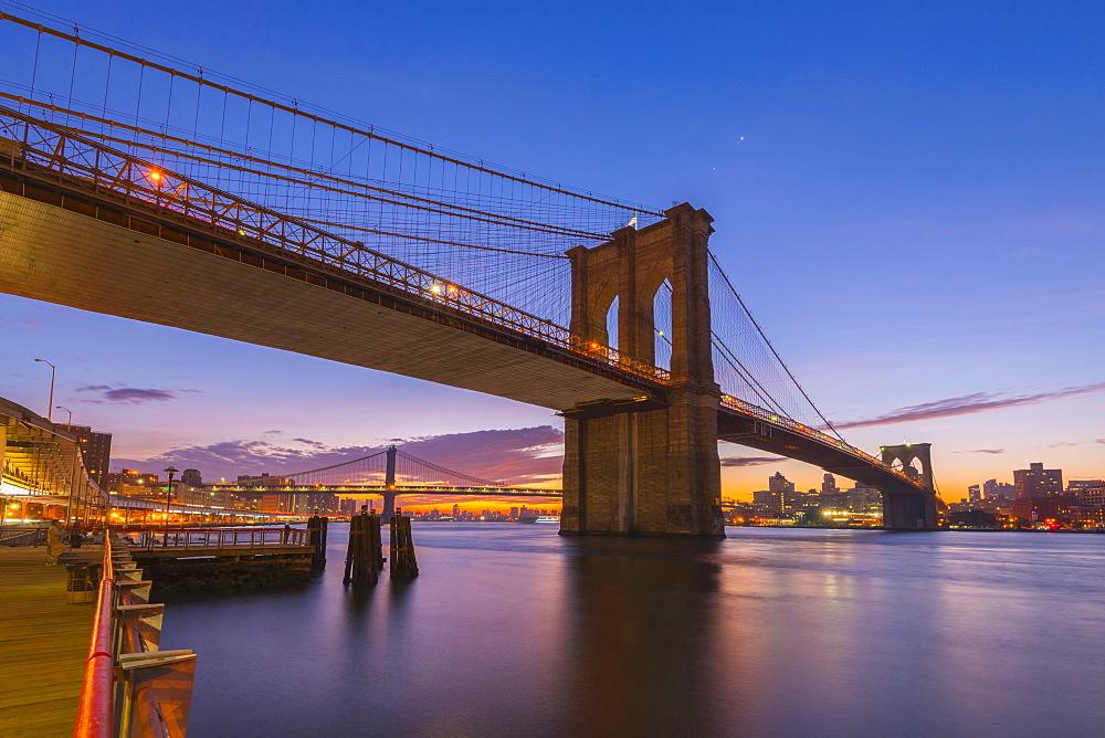 Brooklyn Bridge and Manhattan Bridge beyond, over East River, New York, United States of America, North America