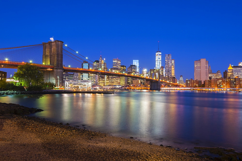Brooklyn Bridge over East River, Lower Manhattan skyline, including Freedom Tower of World Trade Center, New York, United States of America, North America