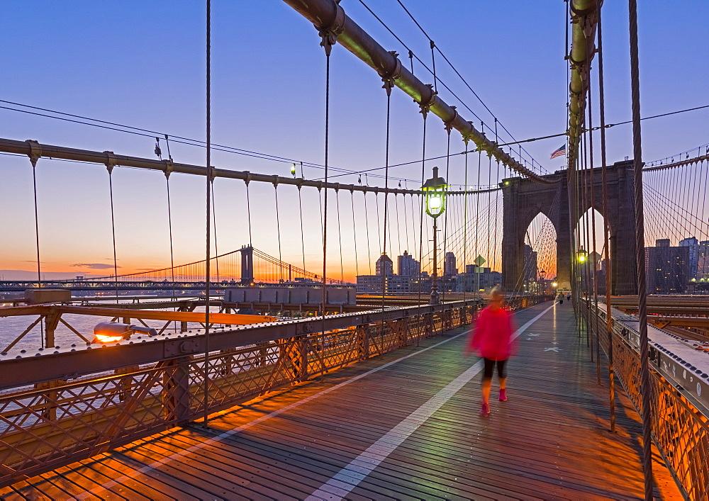 Brooklyn Bridge and Manhattan Bridge beyond, Manhattan, New York, United States of America, North America