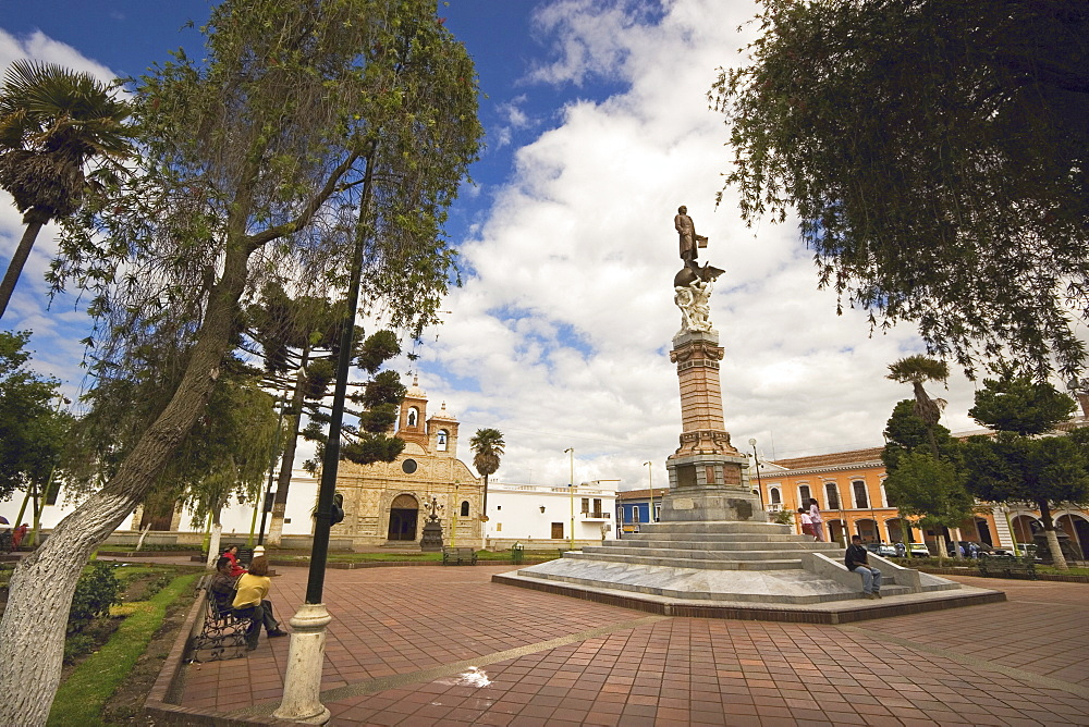 Statue of Vincente Maldonado and the Cathedral at Parque Maldonado in this colonial-style provincial capital, Riobamba, Chimborazo Province, Central Highlands, Ecuador, South America