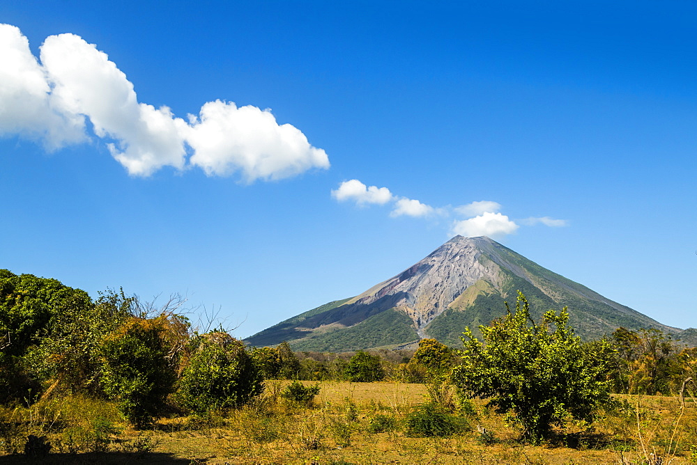 The 1610m active Volcan Concepcion, greater of two volcanoes that form popular Omotepe Island (Isla Omotepe), Lake Nicaragua, Nicaragua, Central America