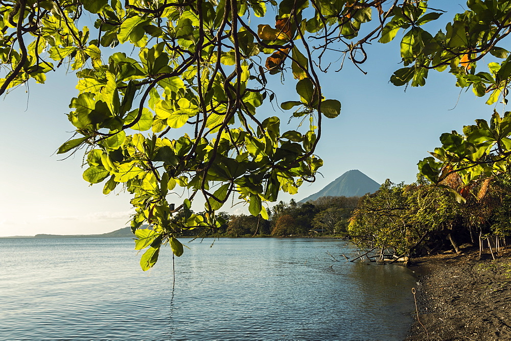Lakeside scene and Volcan Concepcion at Merida in island's South East, Merida, Volcan Maderas, Omotepe Island, Lake Nicaragua, Nicaragua, Central America