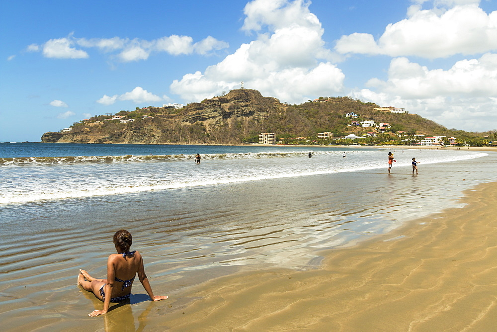Lookout hill overlooking the beach at this popular tourist hub for the southern surf coast, San Juan del Sur, Rivas, Nicaragua, Central America