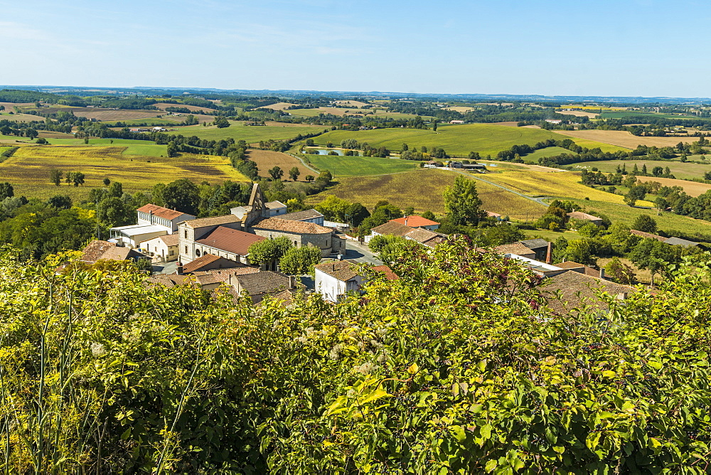 View NW over the church at Monbahus from the Tower of The Virgin, a local landmark; Monbahus. Cancon; Lot-et-Garonne, France