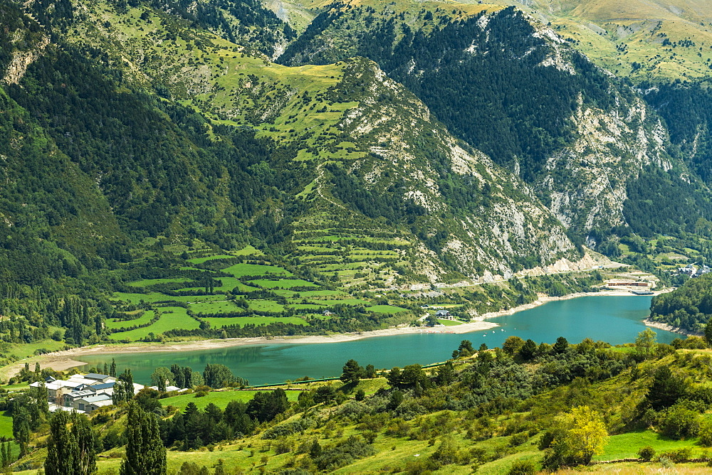 Lake Lanuza reservoir in the scenic upper Tena Valley of the Aragon Pyrenees, Lanuza, Sallent de Gallego, Huesca Province, Spain, Europe - 83-13008