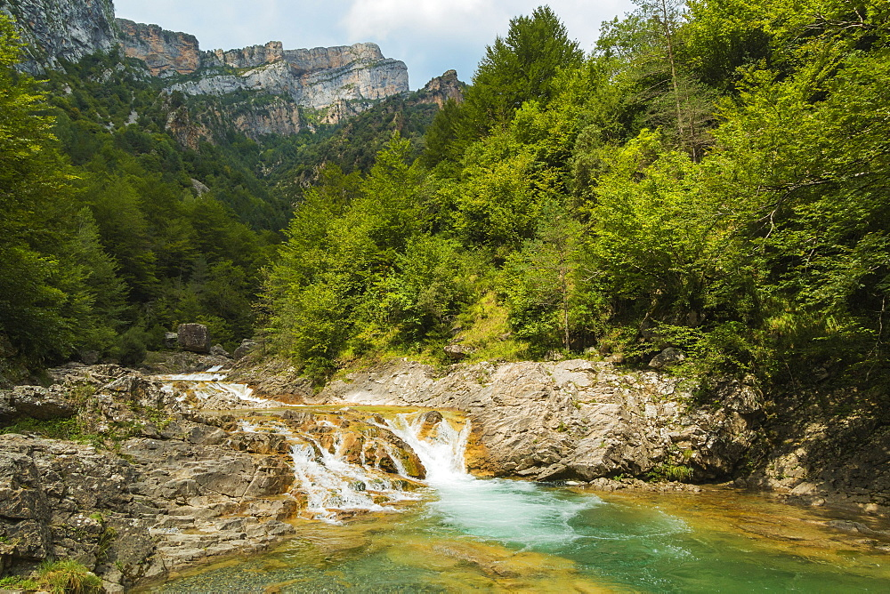 Waterfall on Rio Bellos river in the limestone Anisclo Canyon, Ordesa National Park; Anisclo; Pyrenees; Huesca; Aragon; Spain