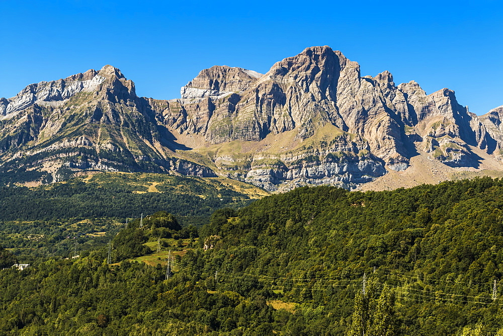 From left, peaks of Corona de Mallo, Parad  2764m and Telera on right, seen from Panticosa, Upper Tena Valley, Pyrenees, Huesca, Spain, Europe - 83-13026