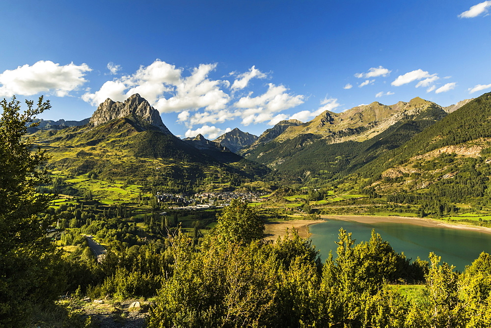 Pena Foratata peak, Lanuza lake and this scenic Tena Valley mountain town. Sallent de Gallego; Pyrenees; Huesca Province; Spain - 83-13034