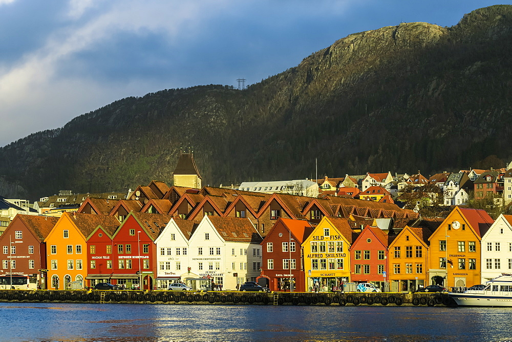 Hanseatic wooden waterfront commercial buildings of the World Heritage listed Bryggen (the dock). Bergen, Hordaland, Norway - 83-13040