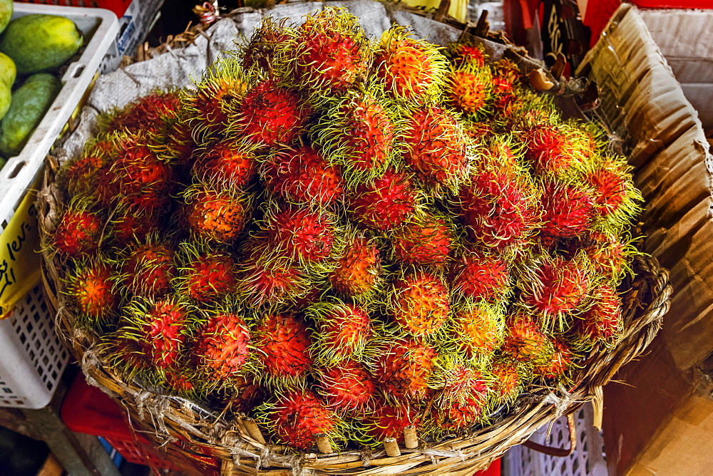 Rambutans, a popular tropical fruit named after the Malay word for hairy, Central Market, city centre, Phnom Penh, Cambodia, Indochina, Southeast Asia, Asia