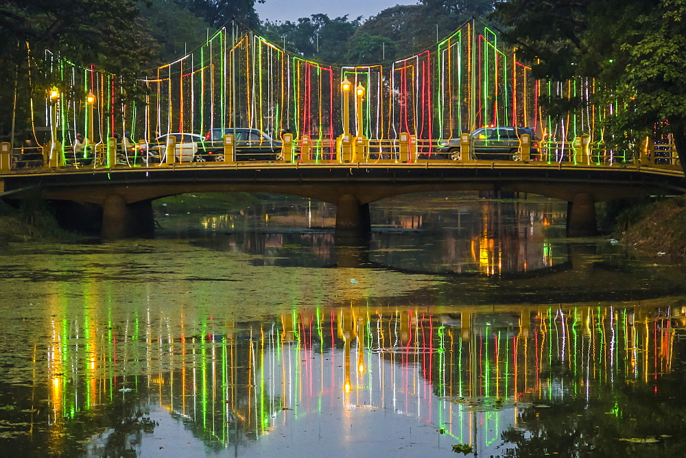 Lights and illuminated bridge on the Siem Reap River by the Art Center Night Market in this NW tourist town, Siem Reap, Cambodia, Indochina, Southeast Asia, Asia - 83-13122