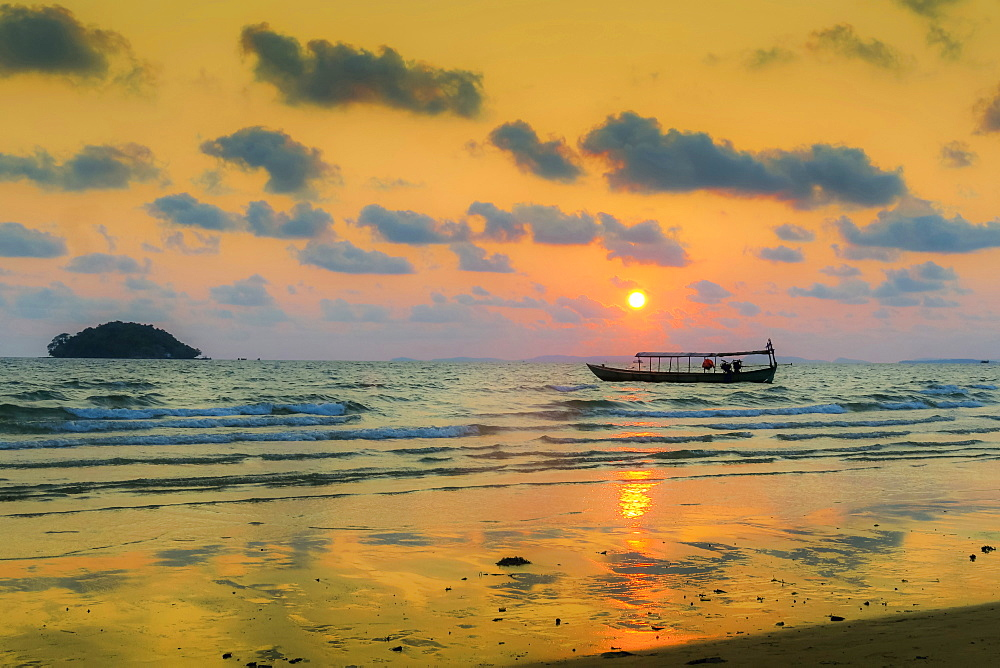 Fishing boat moored off beach south of the city at sunset, Otres Beach, Sihanoukville, Cambodia, Indochina, Southeast Asia, Asia - 83-13140
