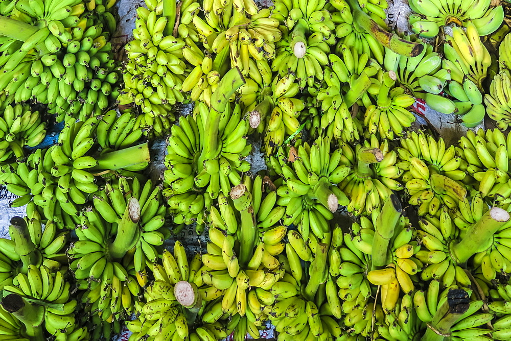 Green bananas at the busy central market in this old formerly French colonial river port city, Kampot, Cambodia, Indochina, Southeast Asia, Asia