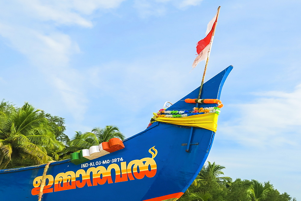 Colourful fishing boat decorated with Indian flag motif on Marari Beach; Mararikulam, Alappuzha (Alleppey), Kerala, India