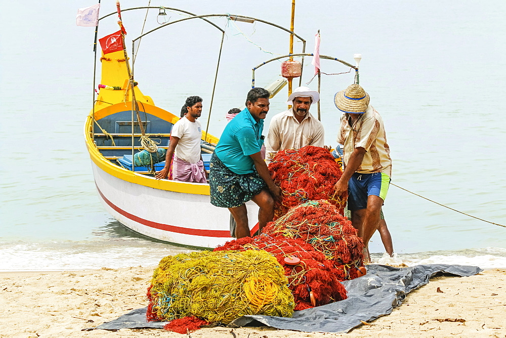 Fishermen carrying heavy nets on to shore at busy, popular Marari Beach; Mararikulam, Alappuzha (Alleppey), Kerala, India