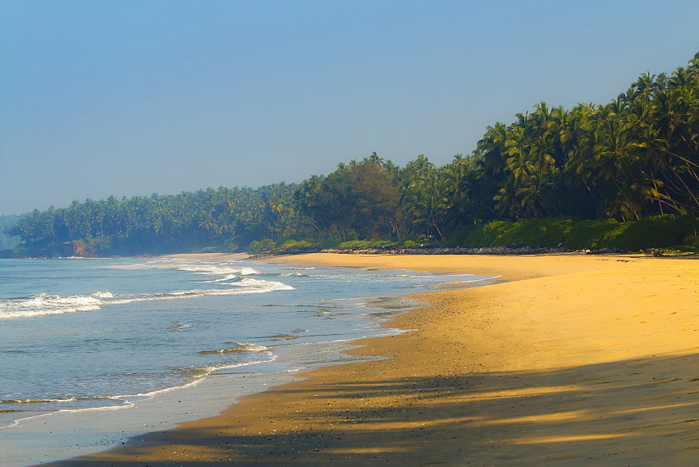 Beautiful palm fringed Kizhunna Beach, south of Kannur on the Kerala north coast, Kannur, Kerala, India, Asia