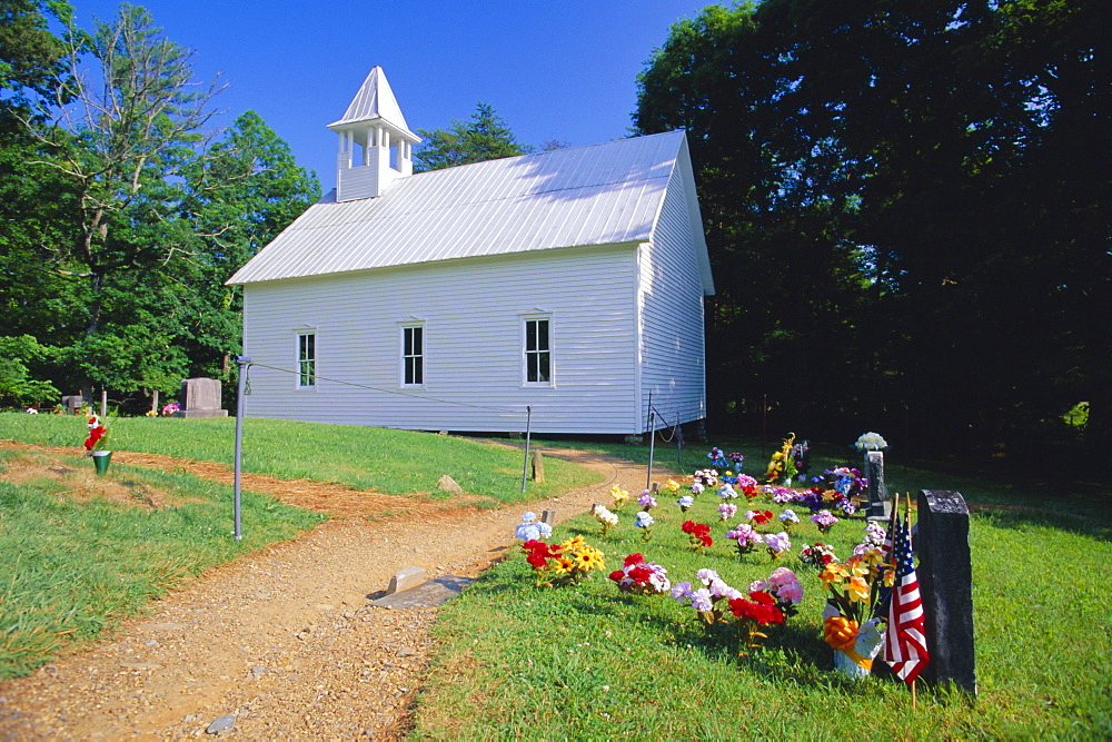 Primitive wooden Baptist church (built in 1887), in the old pioneer community at Cades Cove, Great Smoky Mountains National Park, Tennessee, USA
