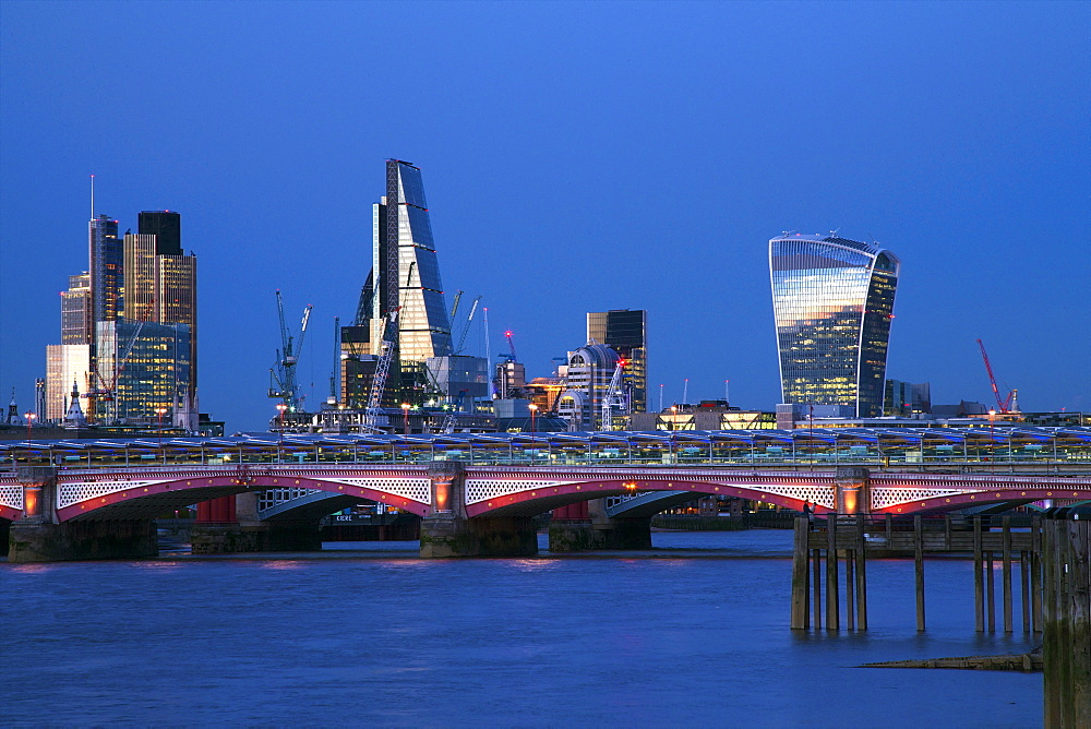 Blackfriars Bridge and River Thames at dusk, taken from South Bank, with Walkie-talkie, Cheesegrater and City of London, London, England, United Kingdom, Europe - 831-1479
