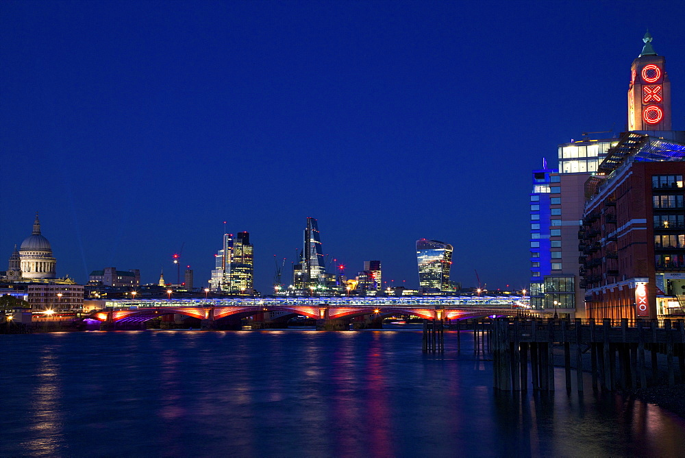 St. Paul's Cathedral, Blackfriars Bridge and River Thames at dusk, taken from South Bank, with Walkie-talkie, Cheesegrater, City of London and Oxo buildling, London, England, United Kingdom, Europe - 831-1480