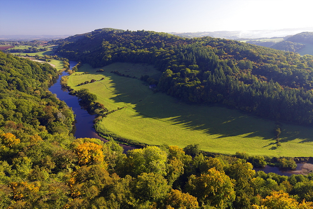 Autumn view north over Wye Valley from Symonds Yat Rock, Forest of Dean, Herefordshire, England, United Kingdom, Europe - 831-1492