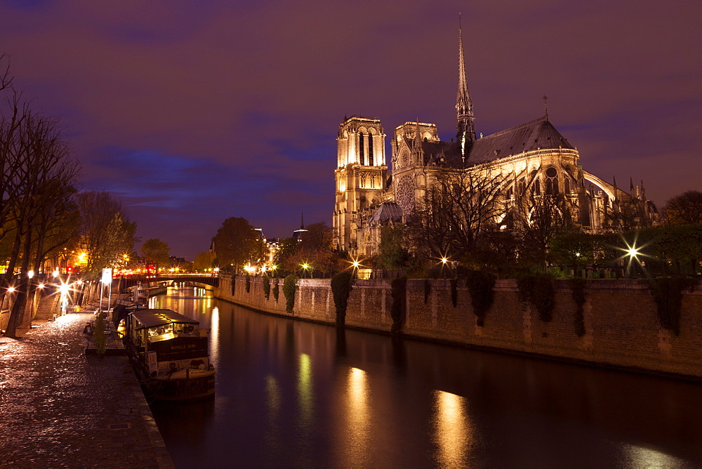 Notre Dame Cathedral at night with River Seine, Paris, France, Europe - 831-1512