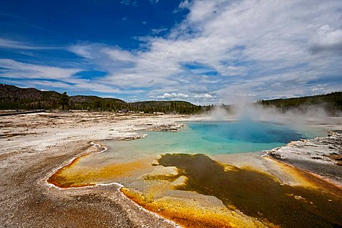 Outlet with colourful thermophilic bacteria and algae of the Sapphire Pool in Bisquit Basin, Yellowstone National Park, Wyoming, Idaho, Montana, America, United States