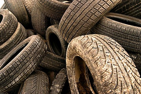Old motor-car tires on a garbage depot - 832-21254