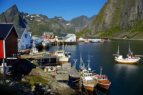 Fishing boats in the picturesque port of Hamnoya Moskenesoya Lofoten Norway