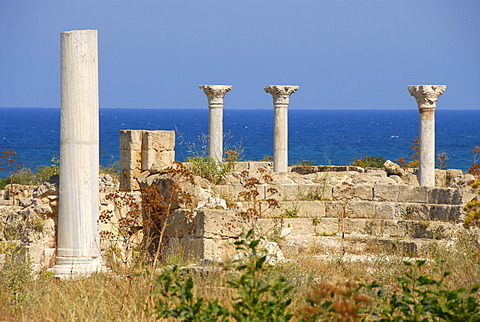 Pillars of early Christian Basilica Kampanopetra at the sea archaeological site Salamis North Cyprus