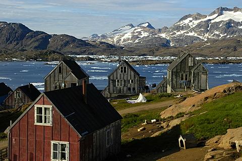 Old wooden houses at the fjord settlement Ammassalik Eastgreenland
