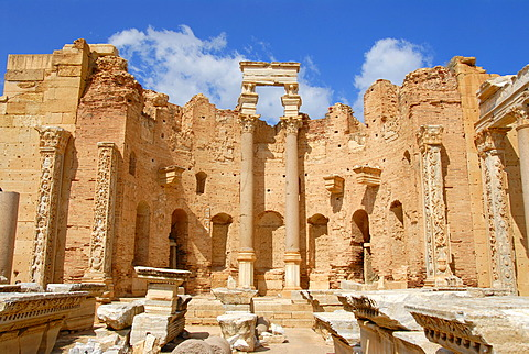 High walls and colums Severan Basilica Leptis Magna Libya