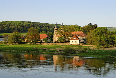 Benedictine Abbey Bursfeld Kloster Bursfelde in Hemeln Bursfelde at the Weser near Hannoversch Muenden Lower Saxony Germany