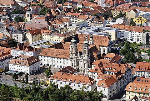 From the Schlossberg castle hill to the pilgrimage church Maria Hilf Mary Help Order Graz capital of Styria Austria