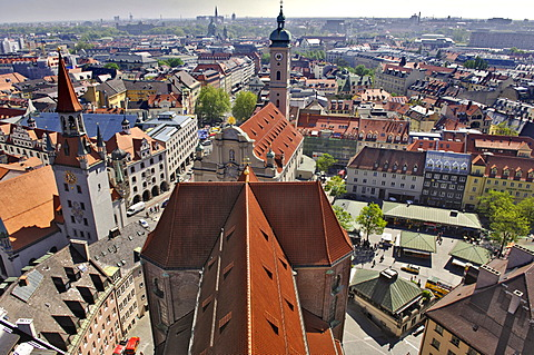 View from St. Peter\'s to the east, Munich, Bavaria, Germany