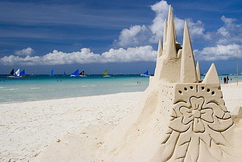 Sand castle on White Beach, Boracay, Philippines
